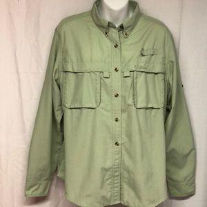 LL Bean L Vented Outdoor Shirt Top Light Green